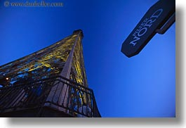 buildings, eiffel tower, europe, france, glow, horizontal, lights, north, paris, perspective, signs, structures, towers, upview, photograph