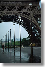 buildings, eiffel tower, europe, france, paris, pedestrians, sidewalks, structures, towers, vertical, photograph