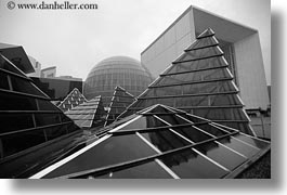 abstracts, arts, black and white, europe, france, glasses, horizontal, la defense, paris, pyramids, photograph