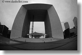 arches, black and white, europe, fisheye, france, grand, horizontal, la defense, paris, perspective, upview, photograph