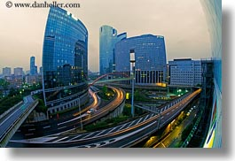 buildings, cityscapes, dusk, europe, france, glow, horizontal, la defense, lights, paris, structures, traffic, photograph