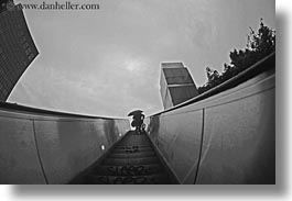abstracts, arts, black and white, europe, france, horizontal, la defense, paris, perspective, silhouettes, stairs, umbrellas, upview, photograph