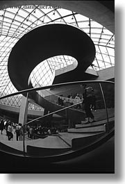 black and white, circular, europe, france, glasses, louvre, materials, paris, stairs, vertical, photograph