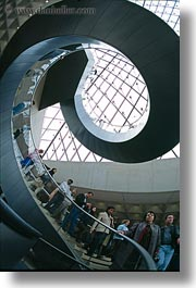 circular, europe, france, glasses, louvre, materials, paris, stairs, vertical, photograph