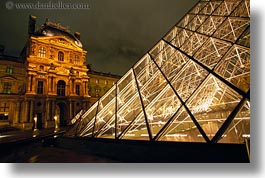 buildings, europe, france, glasses, horizontal, louvre, materials, nite, paris, pyramids, structures, photograph
