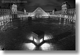 black and white, buildings, europe, france, glasses, horizontal, louvre, materials, nite, paris, pyramids, structures, photograph
