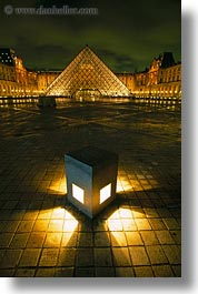 buildings, europe, france, glasses, louvre, materials, nite, paris, pyramids, structures, vertical, photograph