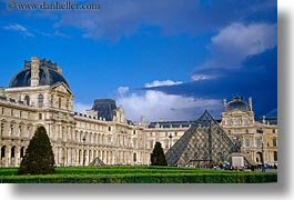 buildings, europe, exteriors, france, glasses, horizontal, louvre, materials, paris, pyramids, structures, photograph