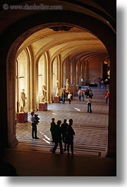 cloisters, europe, france, hallway, louvre, paris, people, vertical, photograph
