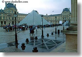 buildings, courtyard, europe, france, glasses, horizontal, louvre, materials, paris, pyramids, structures, photograph