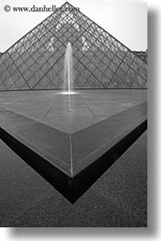 black and white, buildings, europe, fountains, france, glasses, louvre, materials, paris, pyramids, structures, vertical, photograph