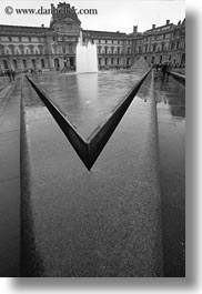 black and white, buildings, europe, fountains, france, louvre, paris, pyramids, structures, vertical, photograph