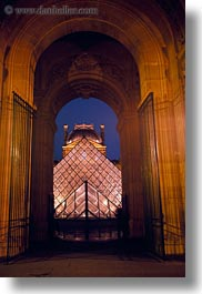 archways, buildings, europe, france, glasses, louvre, materials, paris, pyramids, structures, vertical, photograph