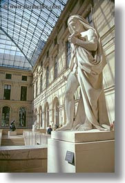 ceilings, europe, france, glasses, louvre, paris, statues, vertical, photograph