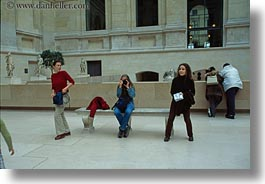 europe, france, horizontal, louvre, paris, threes, womens, photograph