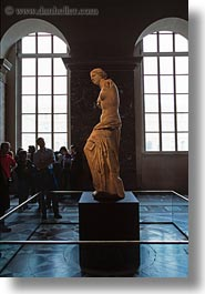 europe, france, louvre, milo, paris, statues, venus, vertical, photograph