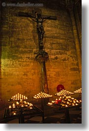 candles, crosses, europe, france, glow, lights, nite, notre dame, paris, vertical, photograph