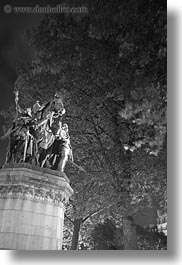 black and white, europe, france, glow, horses, lights, nite, notre dame, paris, statues, trees, vertical, photograph