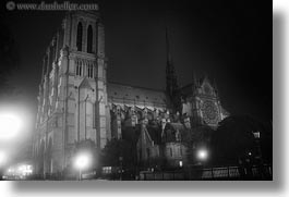 black and white, europe, france, glow, horizontal, lights, nite, notre dame, paris, photograph