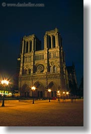 europe, france, glow, lights, nite, notre dame, paris, vertical, photograph