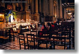 candles, europe, france, glow, horizontal, lights, notre dame, paris, people, praying, photograph