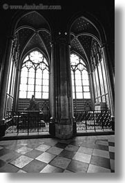 black and white, cloisters, europe, france, glow, lights, materials, notre dame, paris, stained glass, vertical, windows, photograph