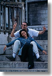 couples, emotions, europe, france, happy, paris, people, smiles, stairs, vertical, photograph