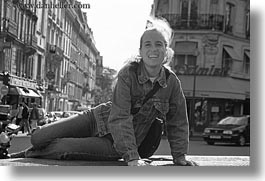 black and white, emotions, europe, france, happy, horizontal, jills, paris, people, smiles, photograph