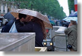 conceptual, emotions, europe, france, horizontal, kissing, lovers, paris, people, romantic, umbrellas, photograph