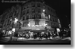black and white, conti, europe, france, horizontal, nite, paris, restaurants, saint germaine, photograph