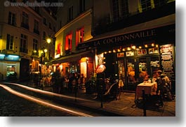 cafes, corner, europe, france, horizontal, light streaks, lights, nite, paris, saint germaine, photograph