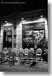 black and white, cafes, chairs, europe, france, indiana, nite, paris, saint germaine, vertical, photograph