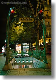 entrance, europe, france, metro, nite, paris, saint germaine, vertical, photograph