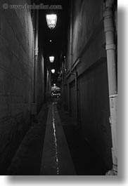 alleys, black and white, europe, france, narrow, nite, paris, saint germaine, vertical, water, photograph