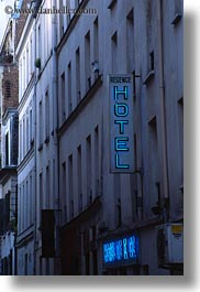 europe, france, hotels, paris, signs, vertical, photograph