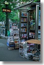 europe, france, magazines, paris, signs, stands, vertical, photograph