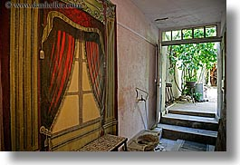 aix en provence, arts, curtains, europe, france, horizontal, painted, provence, windows, photograph