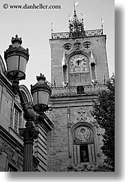 aix en provence, black and white, buildings, city hall, clock tower, europe, france, lamp posts, provence, structures, towers, vertical, photograph