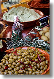 aix en provence, europe, figurines, foods, france, olives, provence, vertical, photograph