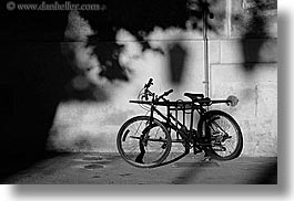 aix en provence, bicycles, black and white, europe, france, horizontal, provence, shadows, photograph