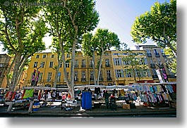aix en provence, buildings, colors, europe, france, green, horizontal, market, provence, structures, tents, trees, photograph