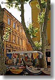 aix en provence, buildings, europe, france, market, provence, structures, tents, trees, vertical, photograph