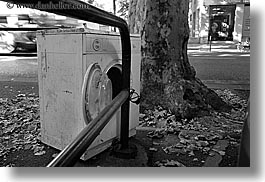 aix en provence, black and white, europe, france, horizontal, machines, old, provence, washing, photograph