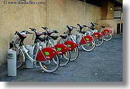 aix en provence, bicycles, colors, europe, france, hello, horizontal, provence, red, photograph