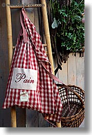 aix en provence, bags, bread, checkered, colors, europe, france, provence, red, vertical, white, photograph