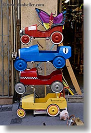 aix en provence, blues, colored, colors, europe, france, provence, red, stacks, vertical, wagons, yellow, photograph