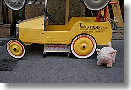 aix en provence, colors, europe, france, horizontal, pigs, provence, toys, wagons, yellow, photograph