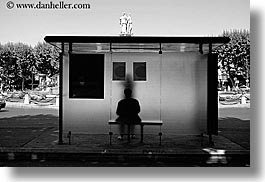 abstracts, aix en provence, arts, black and white, bus stop, europe, france, horizontal, people, provence, silhouettes, photograph