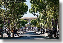 aix en provence, europe, fountains, france, horizontal, nature, plants, provence, rotunda, structures, tree tunnel, trees, photograph