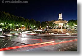 aix en provence, europe, fountains, france, horizontal, light streaks, long exposure, nite, provence, rotunda, structures, photograph
